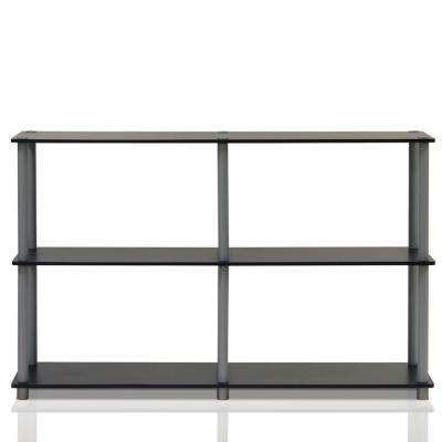 Turn-N-Tube Black and Grey Open Bookcase