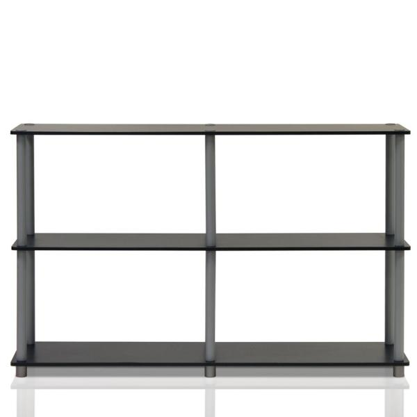Furinno Turn-N-Tube Black and Grey Open Bookcase 99130BK/GY