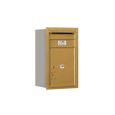 3700 Series 27 in. 7 Door High Unit Gold Private Rear Loading 4C Horizontal Mailbox with Parcel Locker 1 PL5