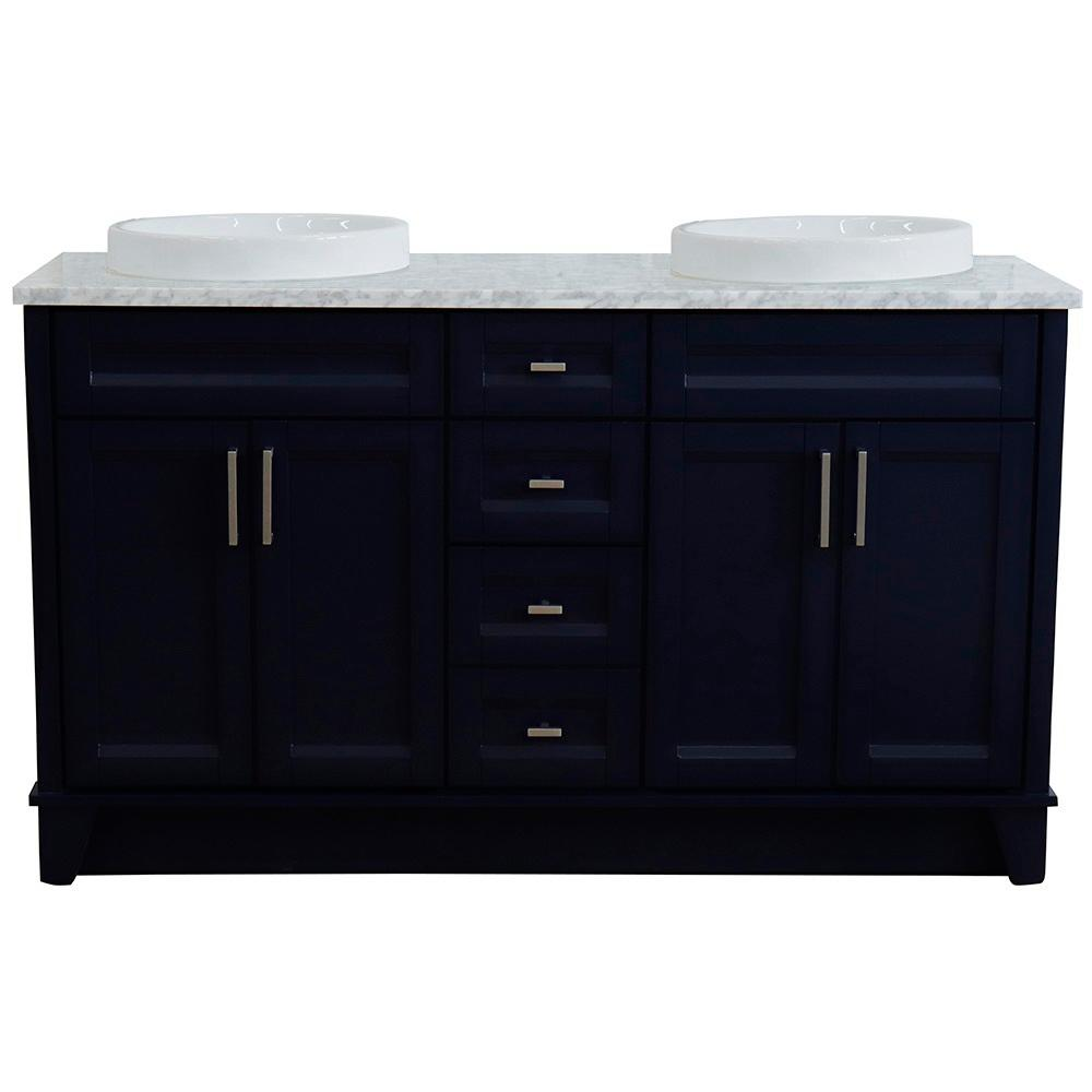 Bellaterra Home 61 in. W x 22 in. D Double Bath Vanity in Blue with Marble Vanity Top in White Carrara with White Round Basins