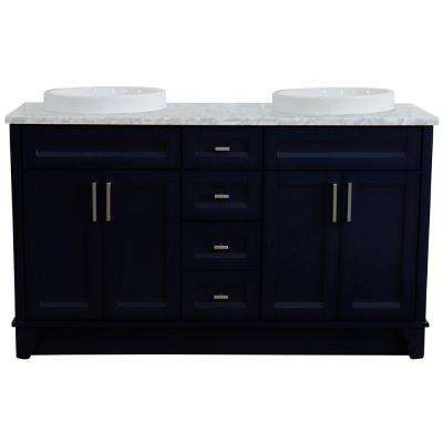 61 in. W x 22 in. D Double Bath Vanity in Blue with Marble Vanity Top in White Carrara with White Round Basins