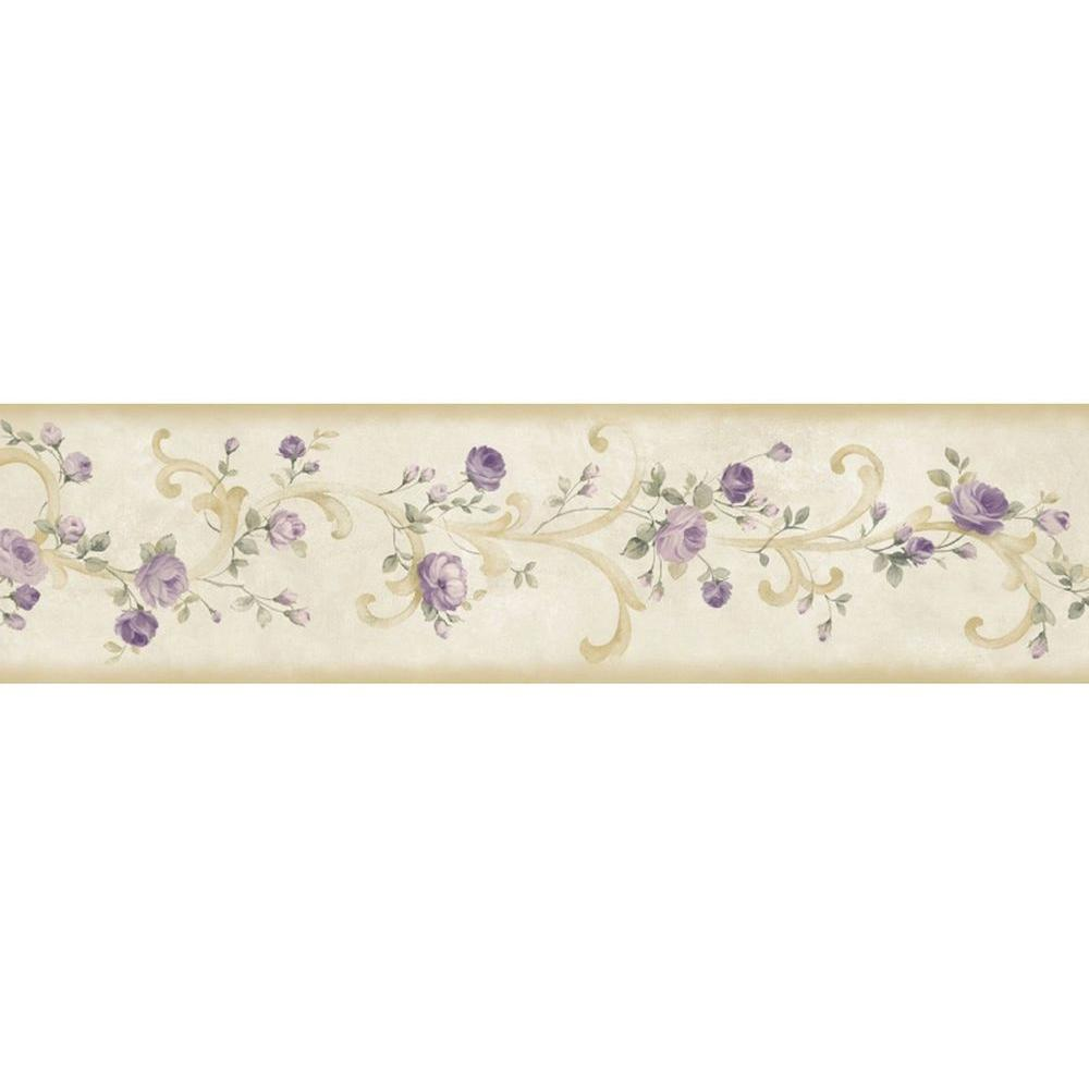 Chesapeake Scotney Purple Tearose Acanthus Wallpaper Border Sample
