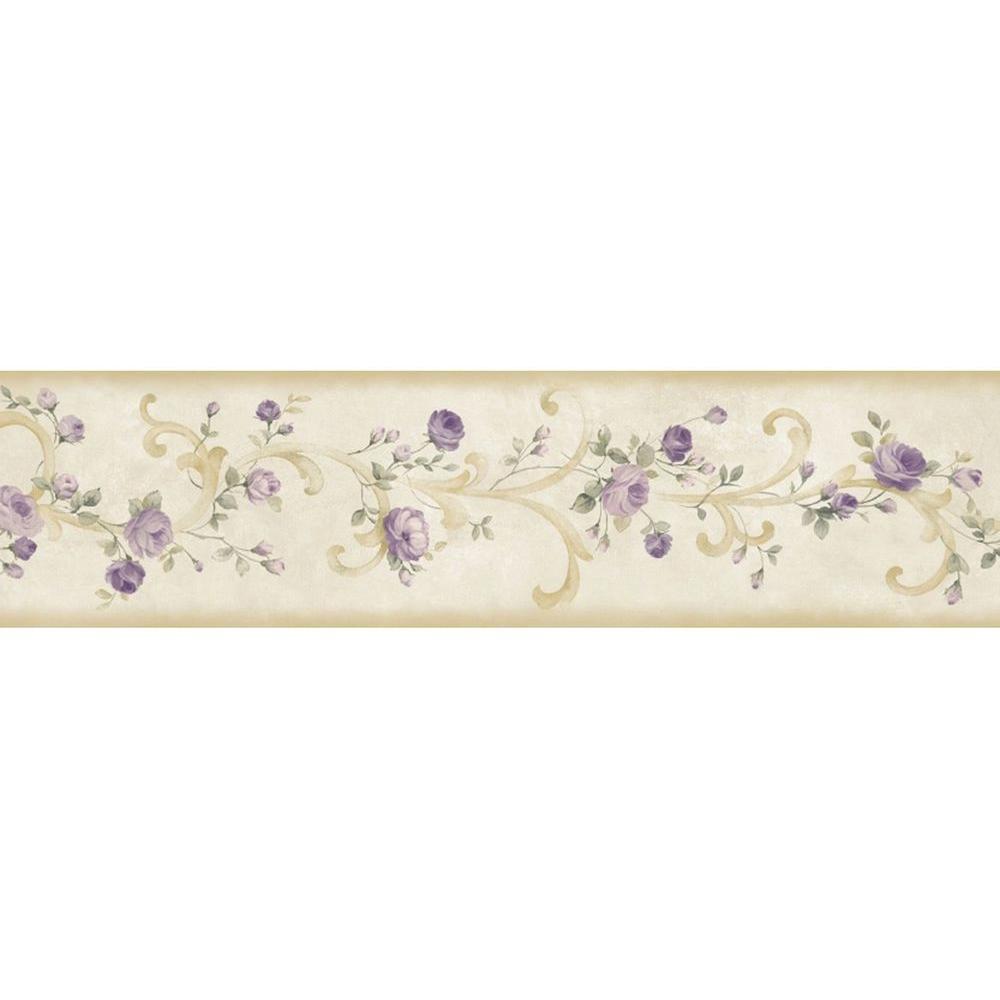 Scotney Purple Tearose Acanthus Purple Wallpaper Border Sample