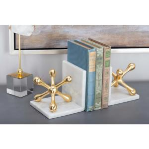 5 inch x 5 inch Gold Aluminum Marble Jackstone Bookends by