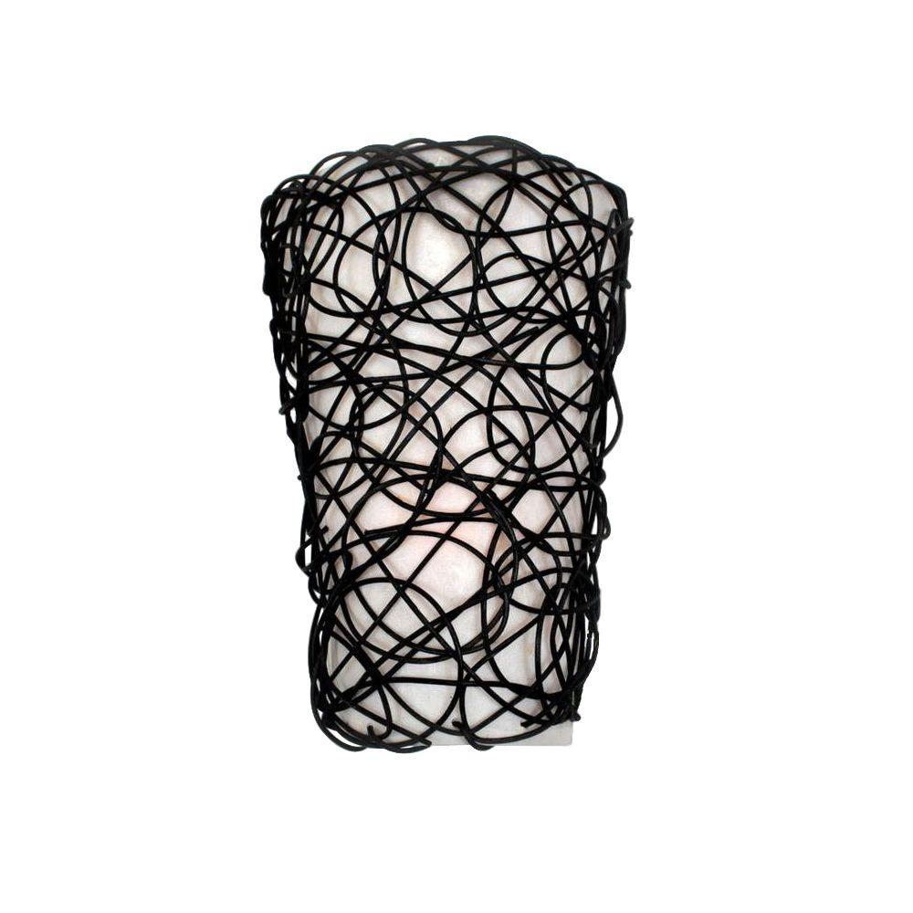 Wicker Black Indoor Battery Operated LED Sconce with Flameless Candle Flicker