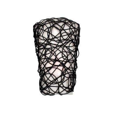 Wicker Black Indoor Battery Operated LED Sconce with Flameless Candle Flicker Mode and White Shade