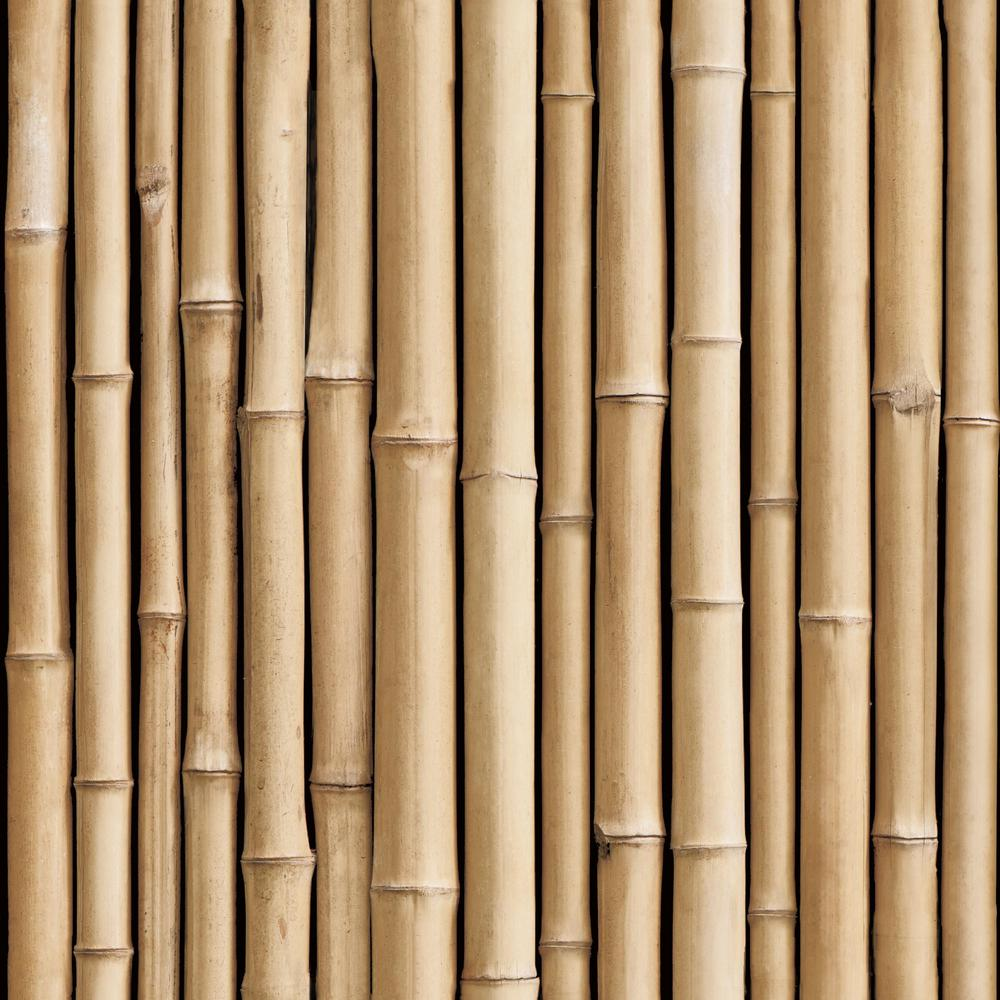 RoomMates RoomMates 28.29 sq. ft. Bamboo Peel and Stick Wallpaper, Brown
