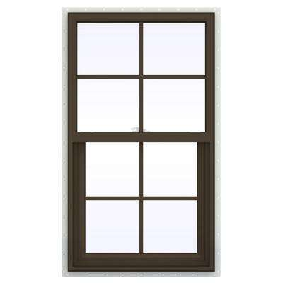 23.5 in. x 47.5 in. V-2500 Series Single Hung Vinyl Window with Grids - Brown