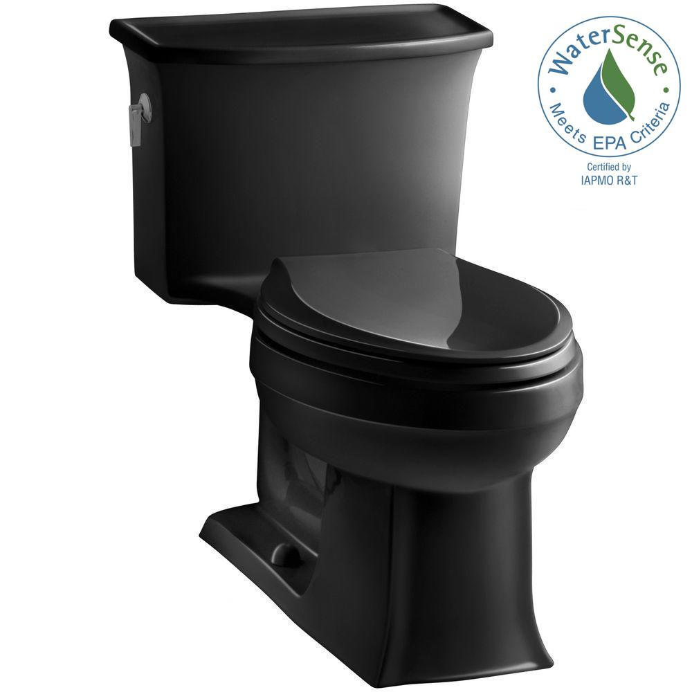 Archer 1-piece 1.28 GPF Single Flush Elongated Toilet in Black Black