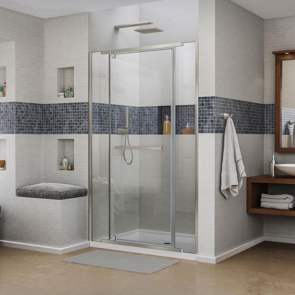 DreamLine Vitreo X 58 In. To 58 3/4 In. X 72 In. Semi Framed Pivot Shower  Door In Brushed Nickel SHDR 2158722 04   The Home Depot