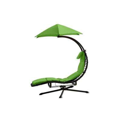 Dream 360° Rotating Steel Outdoor Lounge Chair with Spun Polyester Green Cushion