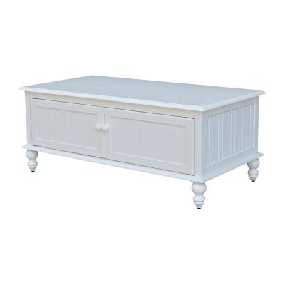 Cottage Beach 48 in. White Large Rectangle Wood Coffee Table