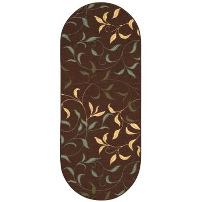 Ottohome Collection Contemporary Leaves Design Chocolate 2 ft. x 5 ft. Oval Runner Rug