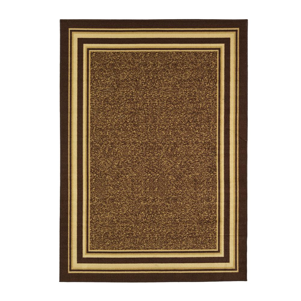 Ottomanson Ottohome Collection Contemporary Bordered Design Brown 8 ft. x 10 ft. Area Rug