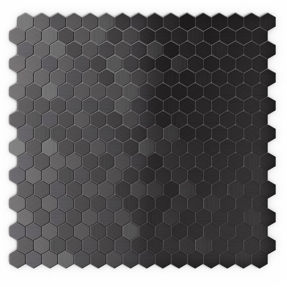 inoxia speedtiles hexagonia sb black stainless in x in x 5 mm metal self adhesive. Black Bedroom Furniture Sets. Home Design Ideas
