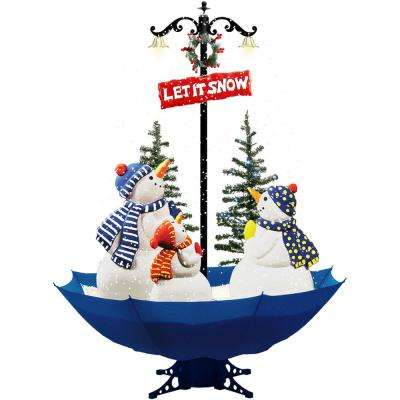 67 in. Musical Snowman Family Scene with Blue Umbrella Base and Snow Function
