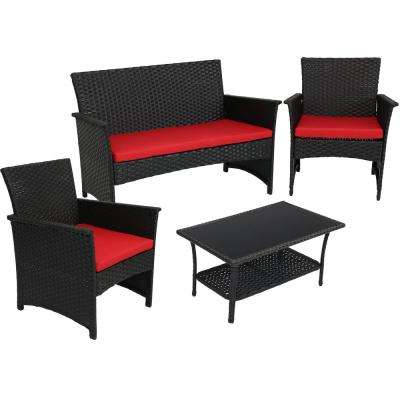 Arklow Black Rattan 4-Piece Metal Outdoor Patio Furniture Conversation Set with Red Cushions