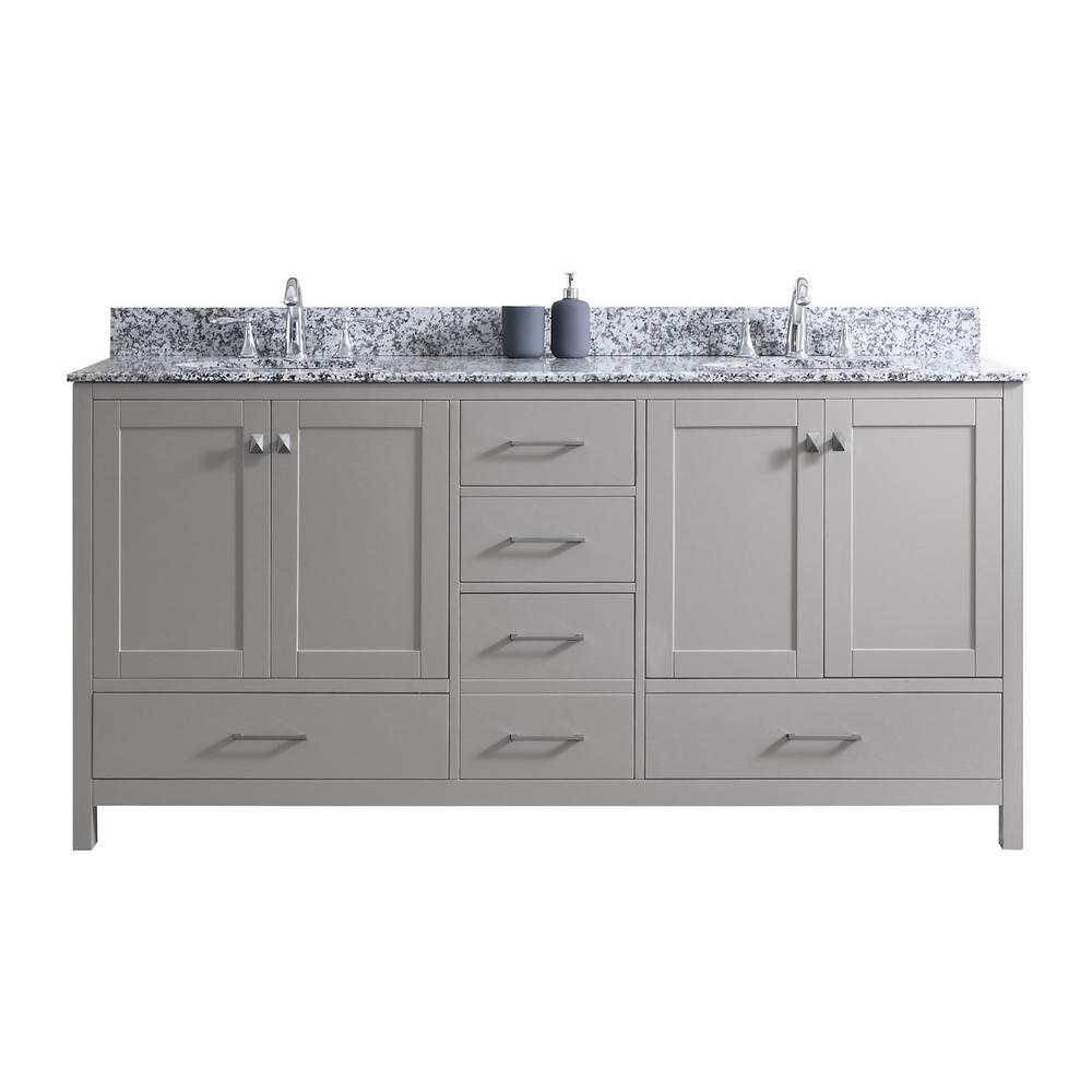 Caroline Madison 72 in. W Bath Vanity in Cashmere Gray with Granite Vanity Top in Arctic White Granite with Round Basin