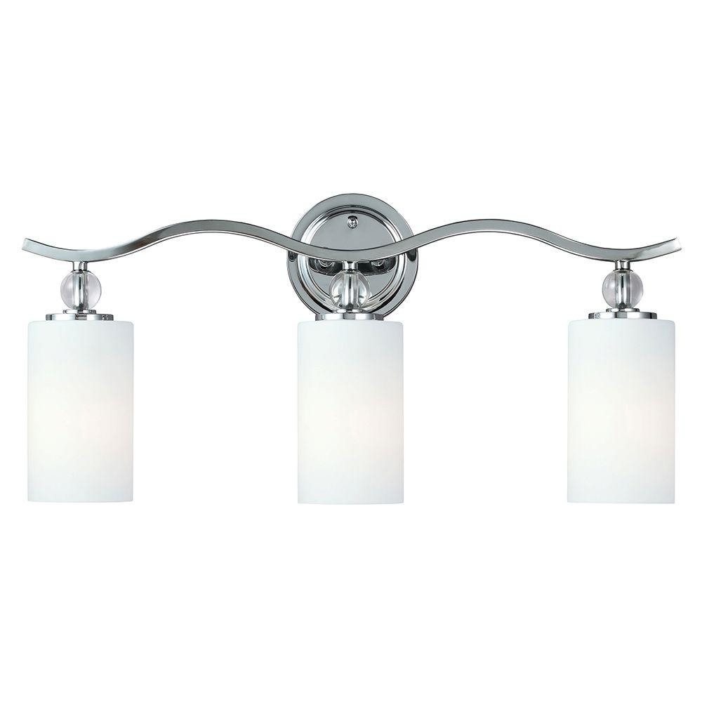 Sea Gull Lighting Englehorn 3 Light Chrome Wall Bath Fixture With Inside White Painted Etched