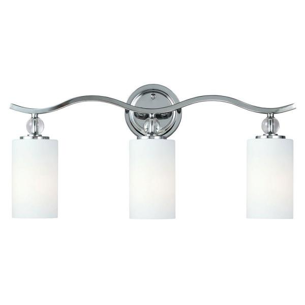 Englehorn 24.5 in. W. 3-Light Chrome Wall/Bath Fixture with Inside White Painted Etched Glass