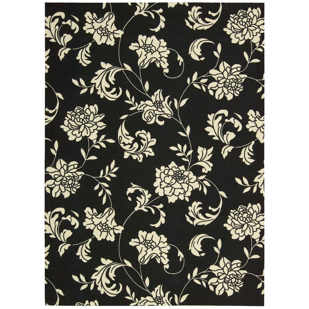 Nourison Home and Garden Bouquet Black 7 ft. 9 in. x 10 ft. 10 in. Indoor/Outdoor Area Rug