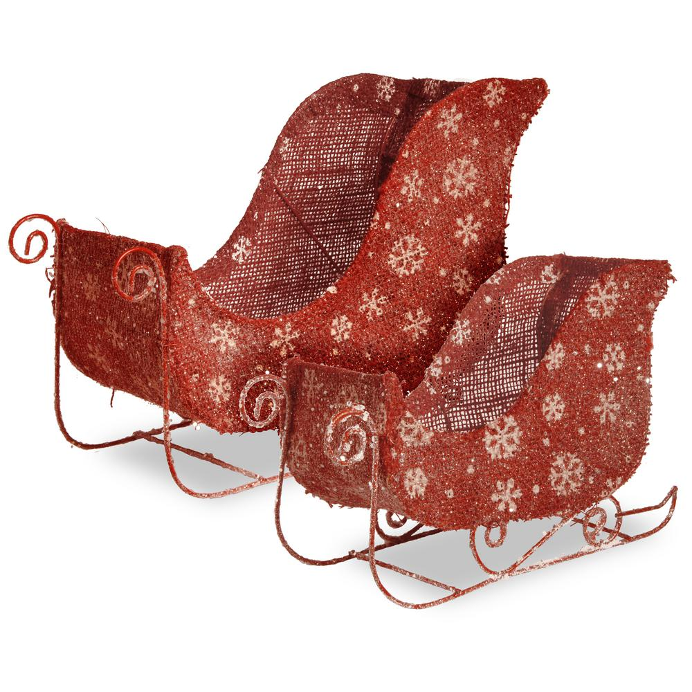 National Tree Company 7 in. and 9 in. Flax Sleigh with Snowflakes and Glitter (Set of 2)