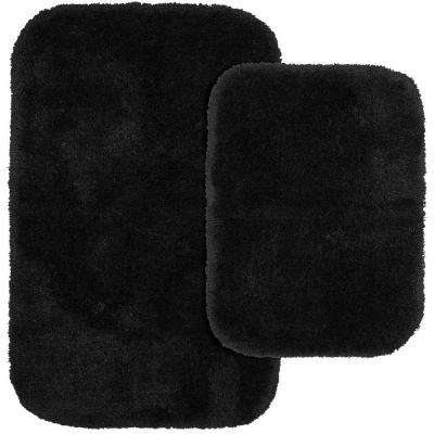 Finest Luxury Black 21 in. x 34 in. Washable Bathroom 2-Piece Rug Set