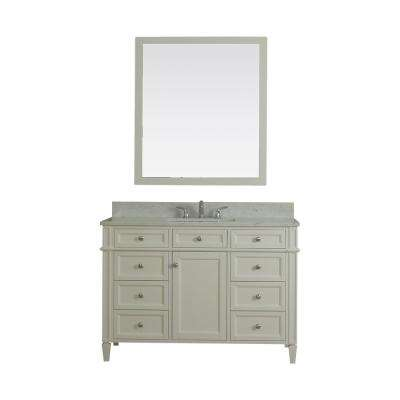 Samantha 48 in. W x 22 in. D Vanity in White with Marble Vanity Top in White with White Basin and Mirror