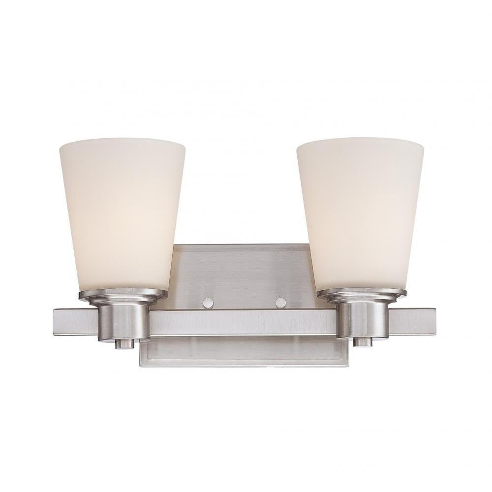 Helen 2-Light Satin Nickel Bath Vanity Light