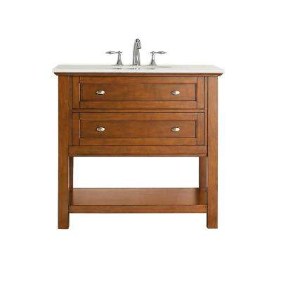 Austell 37 in. W x 22 in. D Vanity in Winter Cherry with Marble Vanity Top in White with White Sink