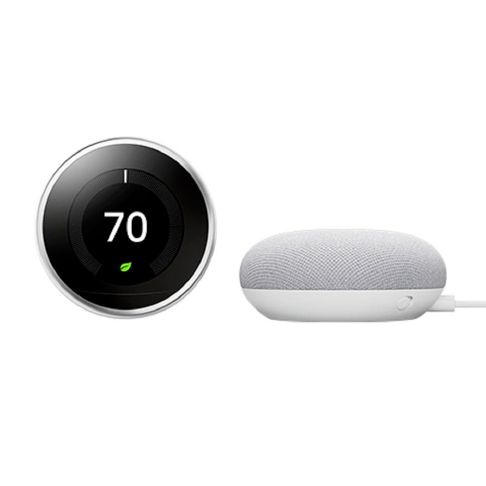 Nest Learning Thermostat 3rd Gen Polished Steel + Nest Mini (2nd Gen) Smart Speaker Chalk