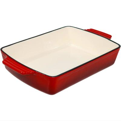 Cast Iron Deep Baking Dish Roaster Pan with Red Enameled