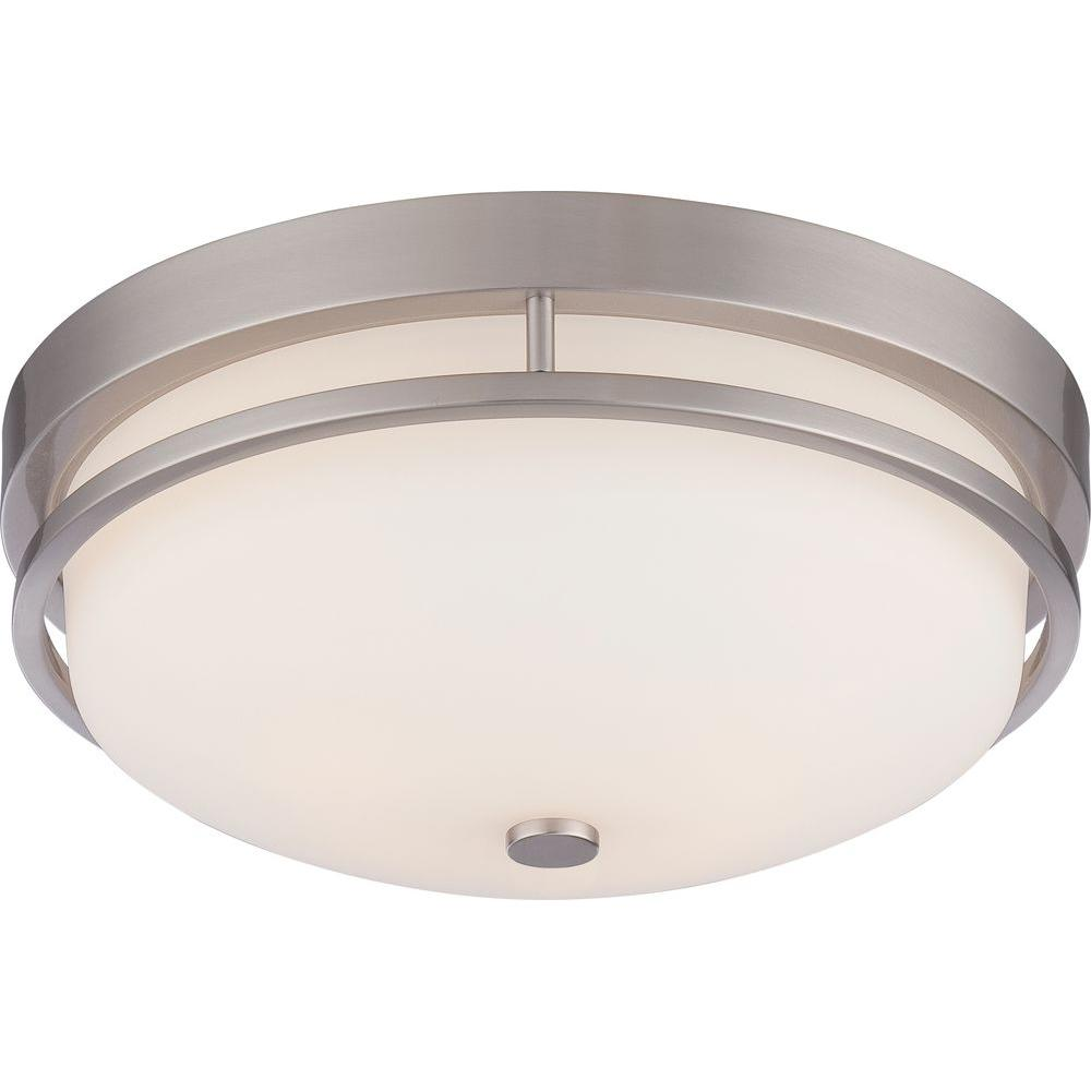 Glomar Nora 2 Light Brushed Nickel Flush Mount Cli Sc654862 The Home Depot
