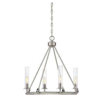 4-Light Brushed Pewter Chandelier with Clear Glass