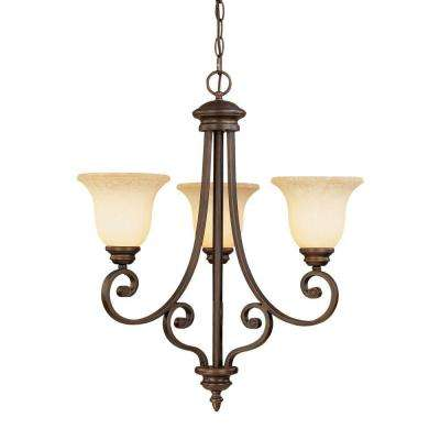 3-Light Rubbed Bronze Chandelier with Turinian Scavo Glass