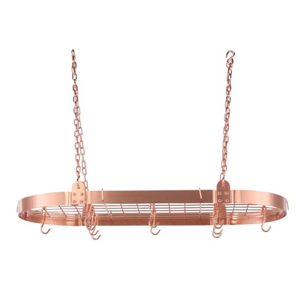 3.25 in. x 18 in. x 36 in. Satin Copper Oval Pot Rack