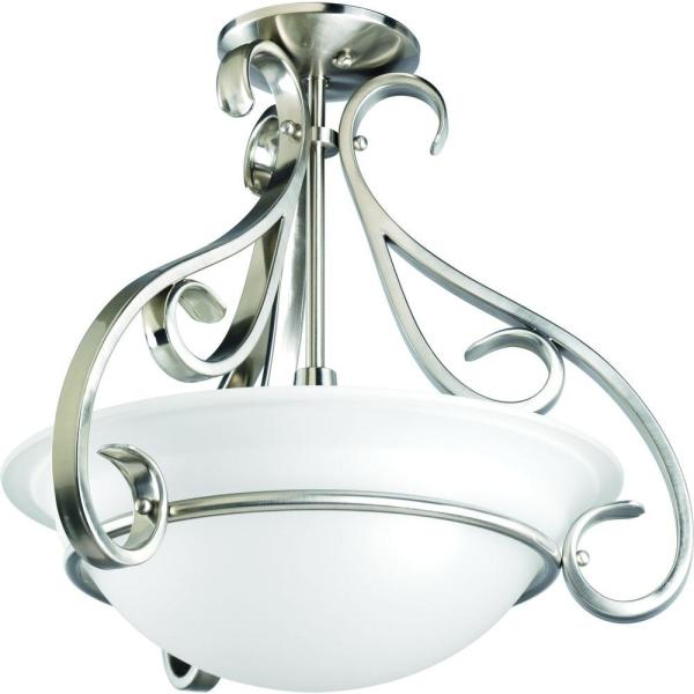 Torino 3-Light Brushed Nickel Semi-Flush Mount