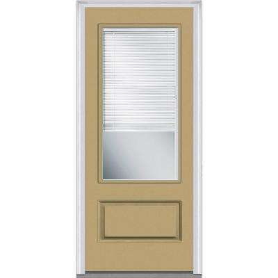 36 in. x 80 in. Internal Blinds Right-Hand Inswing 3/4-Lite Clear 1-Panel Painted Fiberglass Smooth Prehung Front Door