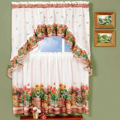 Sheer Country Garden Multicolored Printed Tier and Swag Window Curtain Set - 57 in. W x 24 in. L