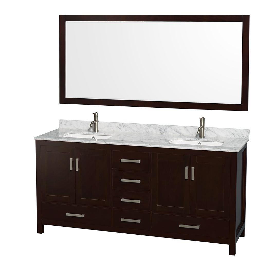 Wyndham Collection Sheffield 72 In Double Vanity Espresso With Marble Top Carrara