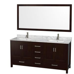 Wyndham Collection Sheffield 72 inch Double Vanity in Espresso with Marble Vanity Top in Carrara White and 70 inch... by Wyndham Collection
