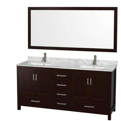 Sheffield 72 in. Double Vanity in Espresso with Marble Vanity Top in Carrara White and 70 in. Mirror