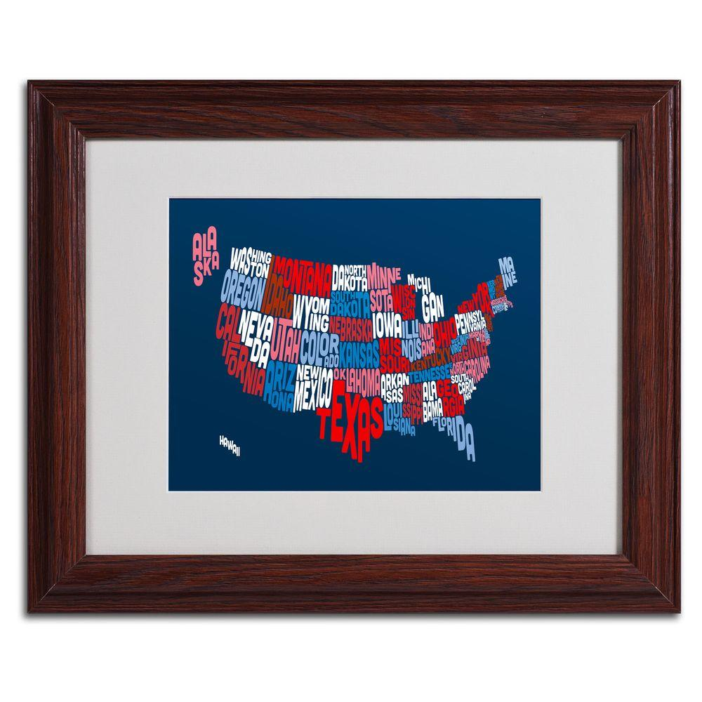 11 in. x 14 in. USA States Text Map 2 Matted