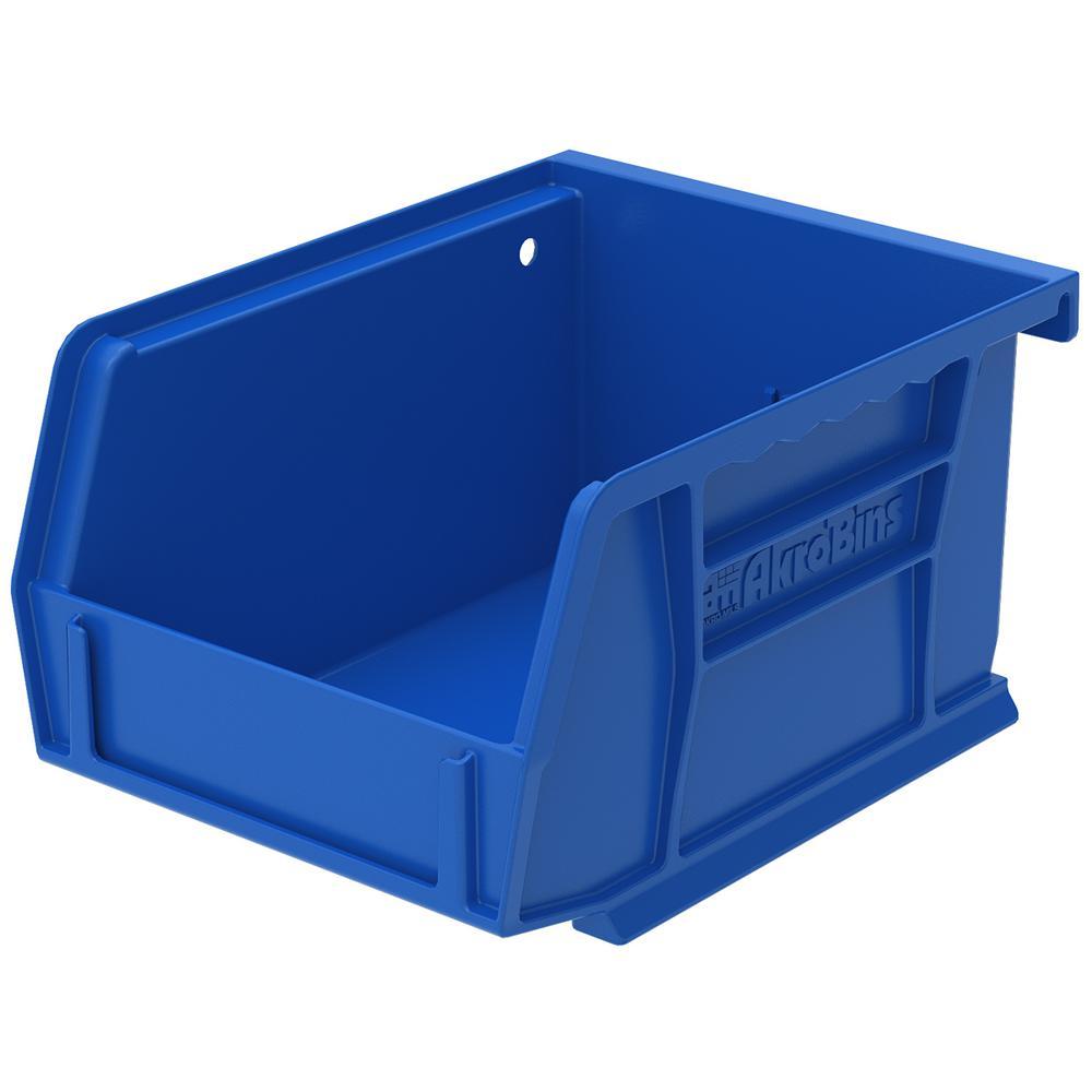 Shelf Bin 10 lbs. 11-5/8 in. x 4-1/8 in. x 4 in. Storage Tote in Blue with 0.5 Gal. Storage Capacity