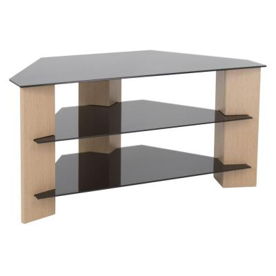 AVF Verano 35 in. Black and Oak Glass Corner TV Stand Fits TVs Up to 42 in. with Open Storage