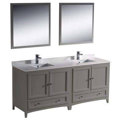 Warwick 72 in. Bathroom Double Vanity in Gray with Quartz Stone Vanity Top in White with White Basin and Mirrors