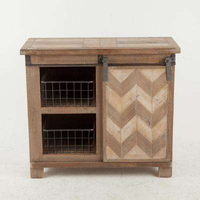 Natural Console Cabinet with Sliding Door