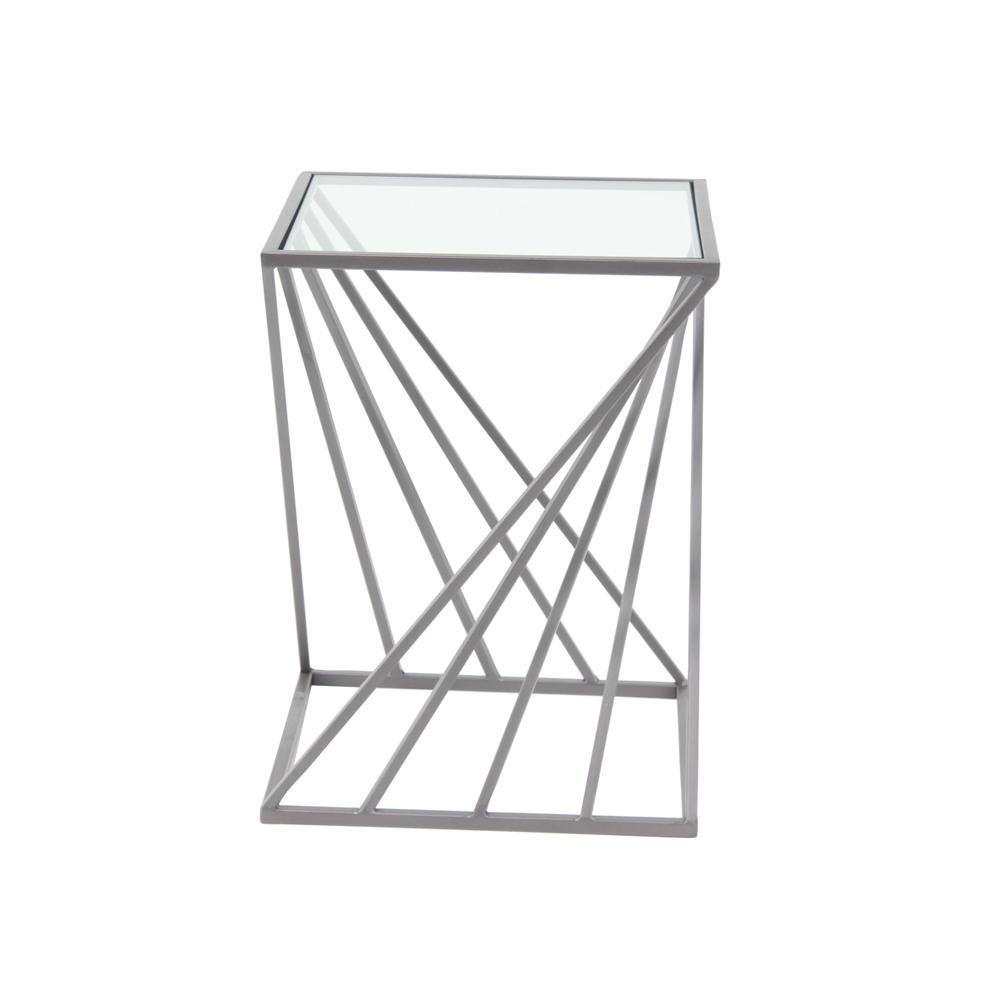White Diagonal Lines-Designed Accent Table
