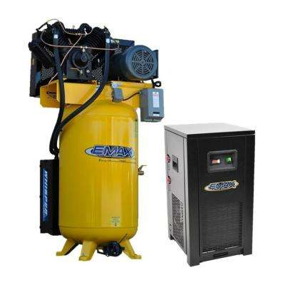 Industrial PLUS 80 Gal. 7.5 HP 208-Volt 3-Phase 2-Stage Silent Air Electric Air Compressor with 30 CFM Dryer Bundle