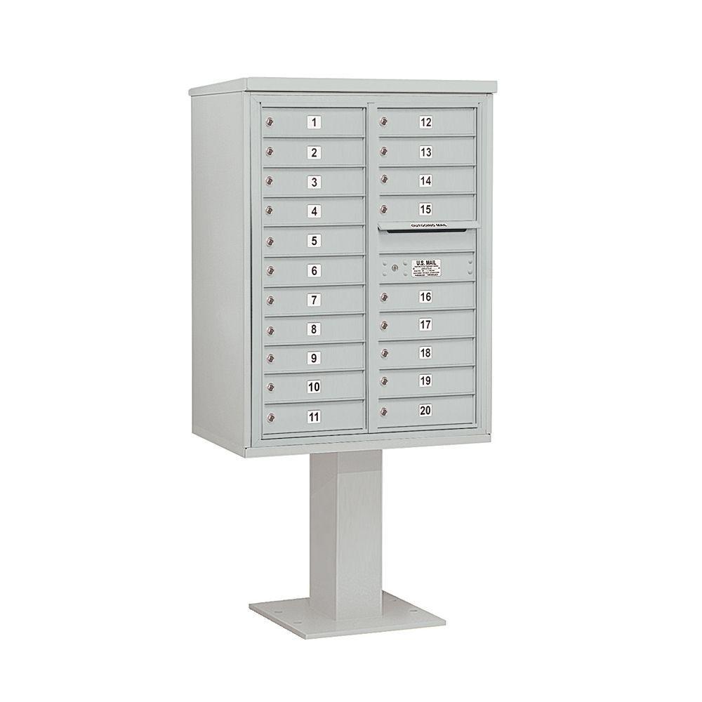 3400 Series 69-1/8 in. 11 Door High Unit Gray 4C Pedestal Mailbox with 20 MB1 Doors